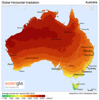 Solar power in Australia - Solar potential in Australia