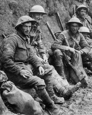 World War I memorials - Royal Irish Rifles soldiers resting in a communication trench early in the Battle of the Somme