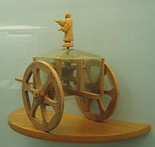Miniature en bois de chariot pointant le sud.