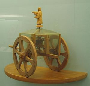 South-pointing chariot - Exhibit in the Science Museum in London, England. This conjectural model chariot incorporates a differential gear.