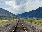 South-southeast along UP tracks at S 2400 East in Utah County, Utah, May 16.jpg