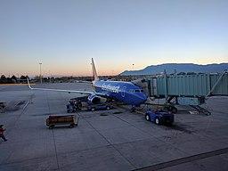 Southwest plane at gate at Albuquerque International Sunport