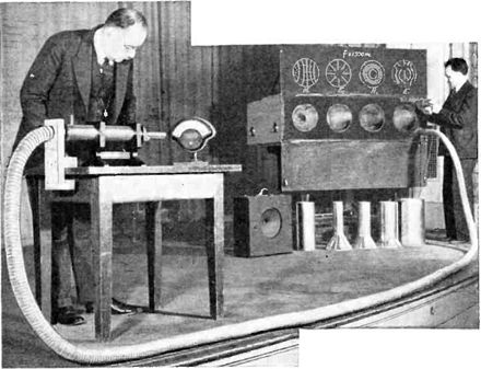 Southworth (at left) demonstrating waveguide at IRE meeting in 1938, showing 1.5 GHz microwaves passing through the 7.5 m flexible metal hose registering on a diode detector. Southworth demonstrating waveguide.jpg