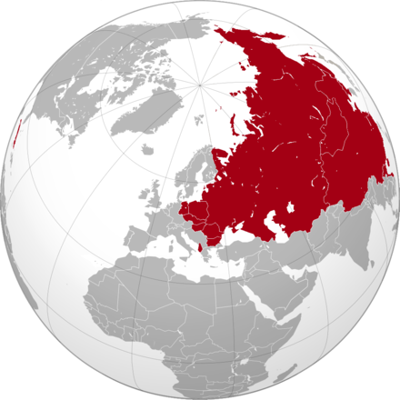 Greatest extent of Soviet influence, before the Sino-Soviet split and after the Tito-Stalin split and Cuban Revolution Soviet empire 1960.png