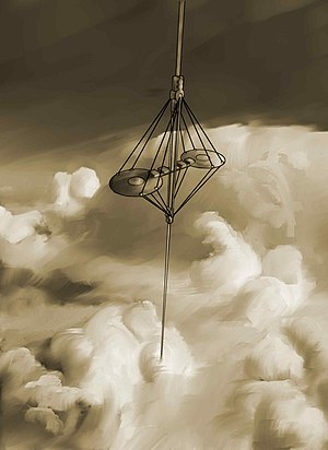 Space elevator - A conceptual drawing of a space elevator climber ascending through the clouds.