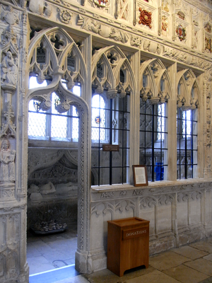 John Speke (1442-1518) - View into the Speke Chantry, Exeter Cathedral. Speke's effigy is visible under a recessed canopy
