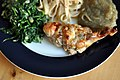 Spinat, fettucine, auberginecreme og perlehønebryst farseret med gorgonzola og valnødder (5597967635).jpg