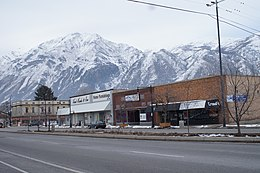 Main Street with the snowy Wasatch Mountains in the background