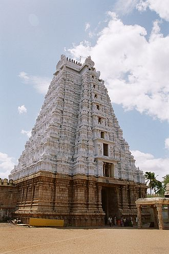 Srirangam - White Gopuram at Srirangam Temple