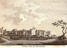 old print showing the castle from the north