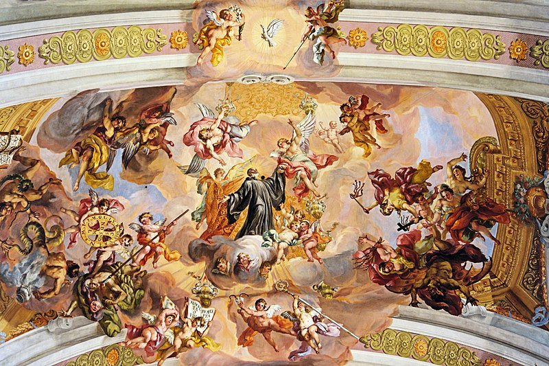 File:St. Benedict's triumphal ascent to heaven by Johann Michael Rottmayr - Melk Abbey Austria.jpg