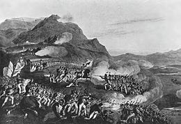 Print showing French forces climbing the Bussaco Ridge on the right side while British troops fire on them from the left side
