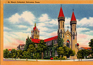 St. Mary Cathedral Basilica (Galveston, Texas) - St. Mary's Cathedral, Galveston, Texas (postcard, circa 1890-1924)