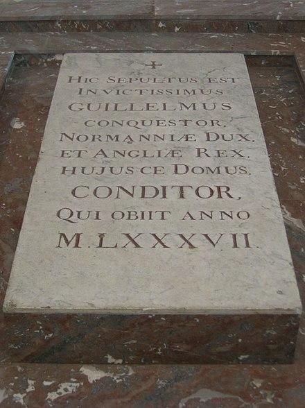 カーンの聖エティエンヌ修道院にあるウィリアム1世の墓標