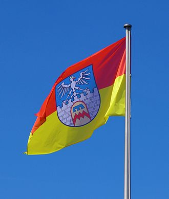 Dillingen, Saarland - City flag of Dillingen in the Lorraine colors red and yellow