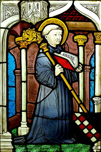 Second Crusade - St Bernard in stained glass, from the Upper Rhine, c. 1450