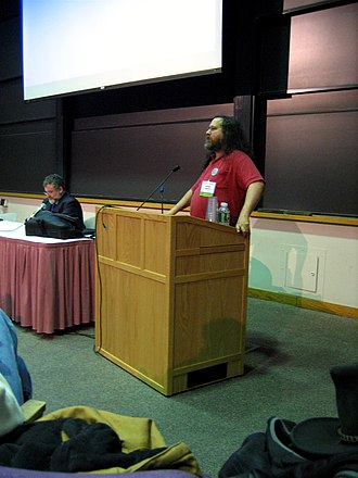 GNU General Public License - Richard Stallman at the launch of the first draft of the GNU GPLv3 at MIT, Cambridge, Massachusetts, United States. To his right is Columbia Law Professor Eben Moglen, chairman of the Software Freedom Law Center.