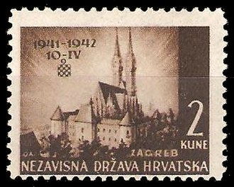 Postage stamps and postal history of Croatia - A 1942 stamp of the Independent State of Croatia