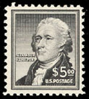 Liberty Issue - $5 stamp depicting Alexander Hamilton, the highest denomination in the Liberty issue