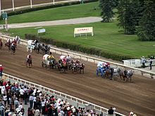 Four wagons driven by teams of four horses race down a dirt track. Several riders on horseback follow as a crowd of spectators looks on from behind a guardrail.