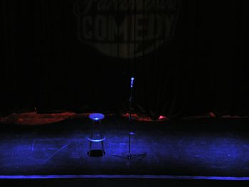 English: Empty stage for a stand-up comedy sho...