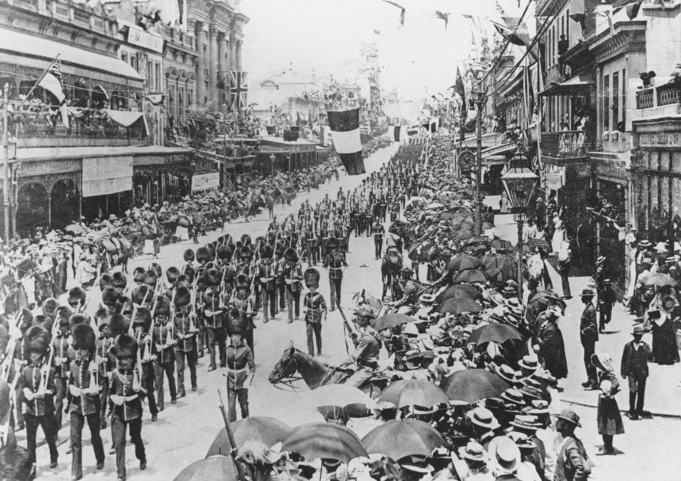StateLibQld 1 127799 Coldstream guards marching during Australian Commonwealth celebrations, Brisbane, 1901