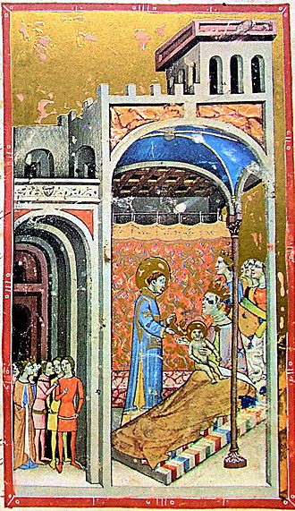 Stephen I of Hungary - Stephen's birth depicted in the Illuminated Chronicle