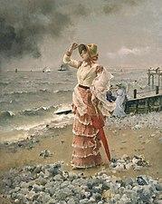 Stevens Alfred Reverie - Femme Elegante Voyant Filer Un Vapeur.jpg