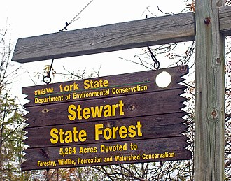 Stewart International Airport - NYSDEC Stewart State Forest sign at parking area on Route 207