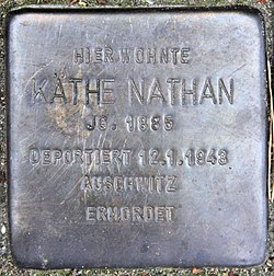 Photo of Käthe Nathan brass plaque