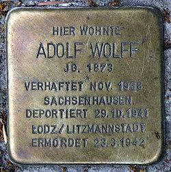Photo of Adolf Wolff brass plaque