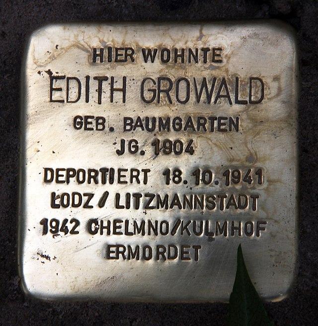 Photo of Edith Growald brass plaque