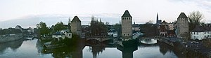 Siege of Kehl (1796–97) - Strasbourg and Kehl, both built on land and over the river channels, had lengthy systems of bridges connecting the land works to each other, such as this one, the Vauban barrage. This is a modern view of the bridge.