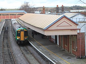 Stratford-upon-Avon railway station - A London Midland train arriving at the station.