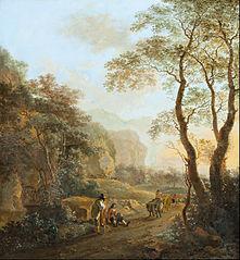 Char à bœufs dans un paysage