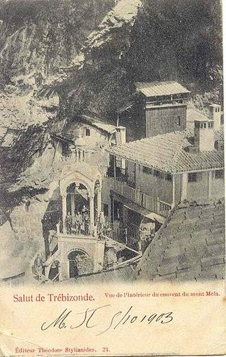Sumela Monastery - Sumela Monastery as illustrated in a postcard addressed in 1903