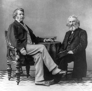 Spats (footwear) - Senator Charles Sumner (left) wearing spats in 1863. At right is Henry Wadsworth Longfellow.