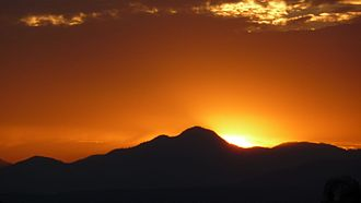 Cobblestone Mountain (California) - Sunset upon Cobblestone Mountain as viewed from Santa Clarita.