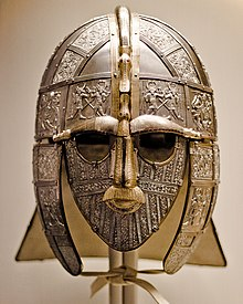 Colour photograph of the Royal Armouries replica of the Sutton Hoo helmet