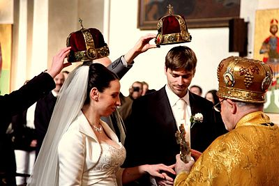 Orthodox wedding, Cathedral of Ss. Cyrill and Methodius, Prague, Czech Republic. Svatba (2).jpg