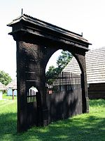 Székely gate in Cernat, historic region of Transylvania.jpg