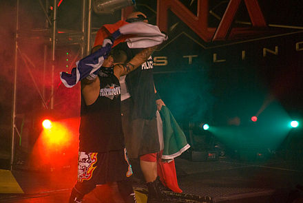 Hernandez and Homicide making their entrance at Bound for Glory in 2008 TNA Bound to Glory IV (49 of 136).jpg