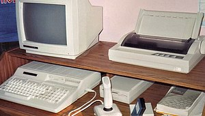 Tandy 1000 - A Tandy 1000 HX, with a Tandy RGB monitor, an external 5.25-inch disk drive, joystick, and a Tandy DMP-133 dot matrix printer
