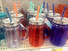 Target Mason Jar Mugs Caps, by Aladdin. 8 2014 by Mike Mozart of TheToyChannel and JeepersMedia on YouTube -Target -MasonJarCups (14639349298).jpg
