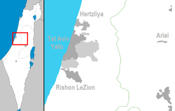 Location of Tel Aviv-Jaffa in Israel, and its municipal area (dark grey) and Gush Dan around it (light grey)