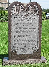 "The Ten Commandments on a monument on the grounds of the Texas State Capitol. The third non-indented commandment listed is ""Remember the Sabbath day, to keep it holy""."