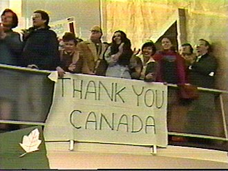Timeline of the Iranian hostage crisis - Americans  welcoming  the six freed hostage by Canadian diplomats during the Iran hostage crisis, 1980.