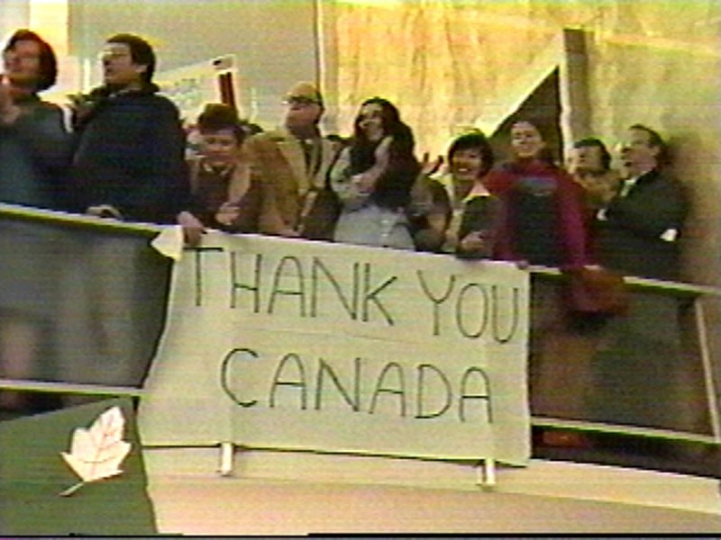 Americans welcoming the six freed hostage by Canadian diplomats during the Iran hostage crisis, 1980 ThanksCanada.JPG