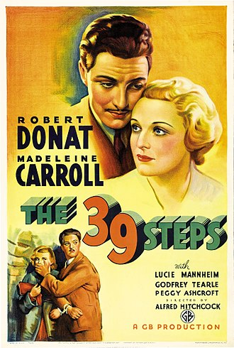 Robert Donat - Theatrical release poster for The 39 Steps (1935)