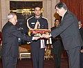 The Ambassador-designate of Portugal, Mr. Joao Do Carmo Ataide Da Camara presenting his credential to the President, Shri Pranab Mukherjee, at Rashtrapati Bhavan, in New Delhi on December 09, 2015.jpg